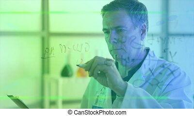 scientist writing on board flare