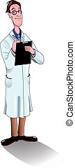 scientist/doctor, hos, glas