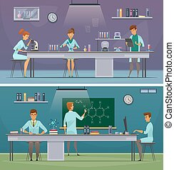 Scientists At Work Retro Cartoon Banners