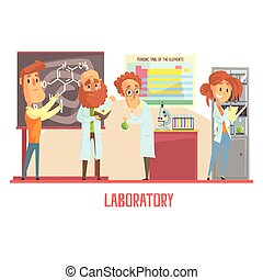 Scientists characters conducting research in a lab, interior of science laboratory
