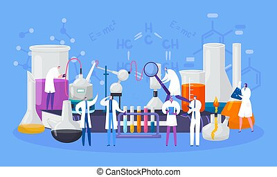 Scientists characters in chemical laboratory conduct experiment in science, vector illustration. Scientifical research, lab.