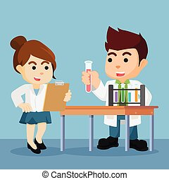 scientists doing experiment
