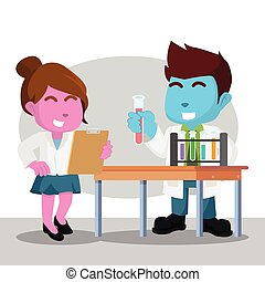 Scientists doing experiment illustration design