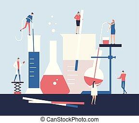 Scientists - flat design style illustration