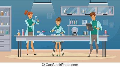 Scientists In Lab Retro Cartoon Poster