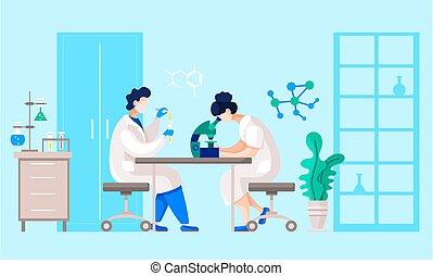 Scientists Making Experiment in Research Lab Room