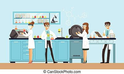 Scientists man and woman working in a lab, interior of science laboratory, vector Illustration