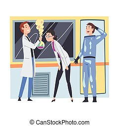 Scientists or Assistants People Doing Research and Experiments in Scientific Lab Vector Illustration
