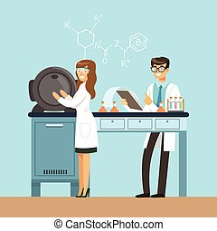 Scientists testing chemical elements, interior of science laboratory, vector Illustration