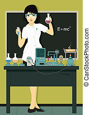 Woman scientist in laboratory with test tubes.