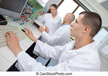 scientists working attentively