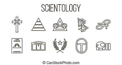 December 04, 2017 Editorial illustration of Scientology symbols