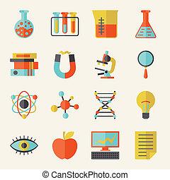 scienza, appartamento, disegno, style., icone