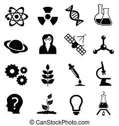 scienza, biologia, fisica, e, chimica, icona, set