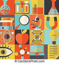 scienza, concetto, illustrazione, in, appartamento, disegno, style.