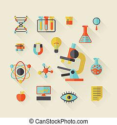 scienza, icone, in, appartamento, disegno, style.