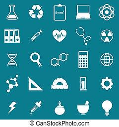 scienza, icone, su, sfondo blu