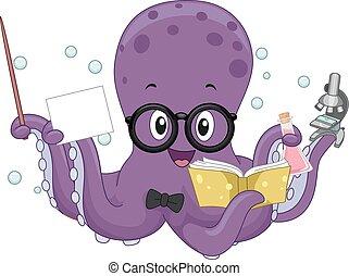 scienza, polpo, insegnante, illustrazione