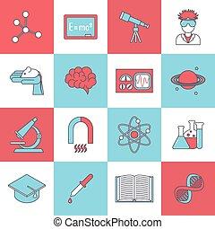 scienza, ricerca, appartamento, icona