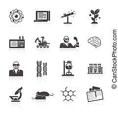 scienza,  set, ricerca, icona