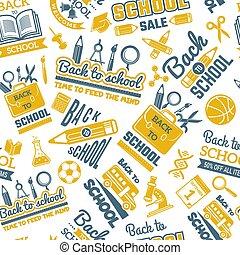 scienza, simboli, pattern., seamless, fondo, con, immagini, di, scuola