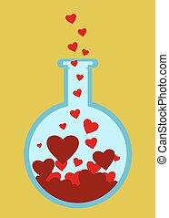 scienza, tubo, amore
