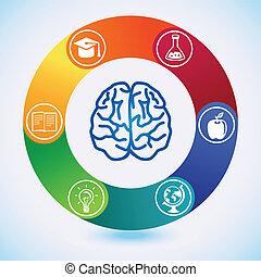 scienza, vettore, educazione, concep