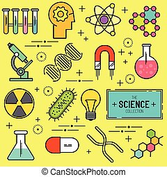 scienza, vettore, set, icona