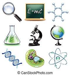 scienza, vettore, set, icone