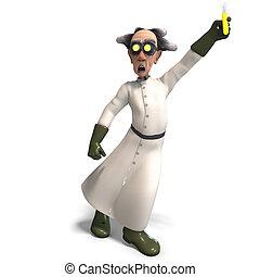 scienziato arrabbiato, con, pericoloso, fluido