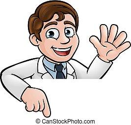 scienziato, carattere, cartone animato, indicare, segno
