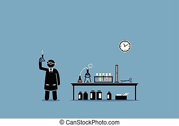 scienziato, esaminare, il, risultato, di, suo, laboratorio chimico, experiment.