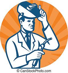 scienziato, ricercatore, con, cannello di saldatura,...