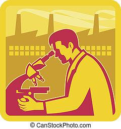 scienziato, ricercatore, fabbrica, costruzione, retro