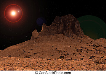 SciFi Fantasy World - Cabezon Peak is the core remains of an...