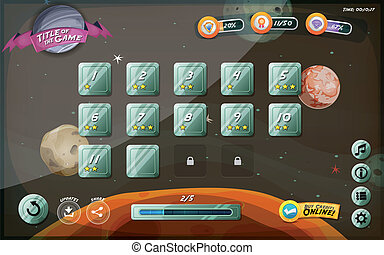 Illustration of a funny space cosmic graphic game user interface background, in cartoon style with basic buttons and functions, status bar, for wide screen tablet