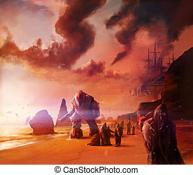 Scifi warriors walking on a ocean evening shore with robots ...