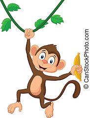 scimmia, cartone animato, appendere