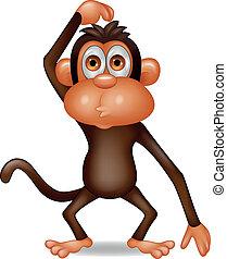 scimmia, cartone animato, pensare