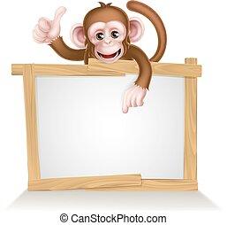 scimmia, cartone animato, segno
