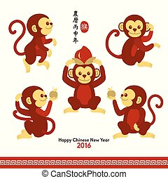 scimmia, cinese, anno, nuovo, 2016, felice