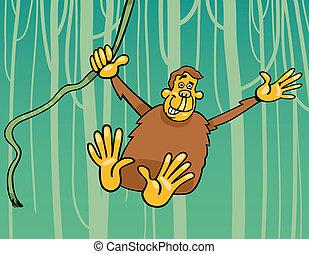 scimmia, giungla, illustrazione, cartone animato