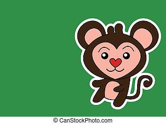 scimmia, illustrazione, cartone animato
