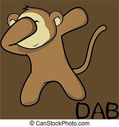 scimmia, limanda, atteggiarsi, dabbing, cartone animato, capretto