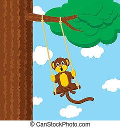 scimmia, oscillazione