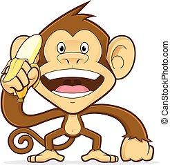 scimmia, presa a terra, banana