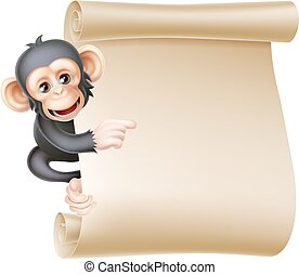 scimmia, rotolo, cartone animato