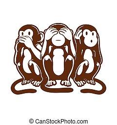scimmia, tre