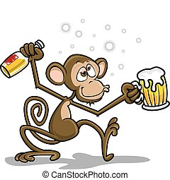 scimmia, ubriaco