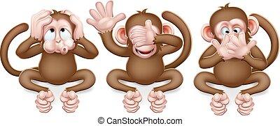 scimmie, cartone animato, no, caratteri, male, sentire, parlare, vedere